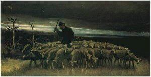 """Pastor con un rebaño de ovejas"""" de Vincent van Gogh"""