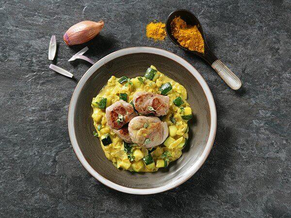 Receta de filetes de carrillón adobado en curry.